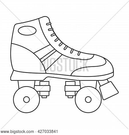 Skate Roller Vector Outline Icon. Vector Illustration Rollerskate On White Background. Is Olated Out