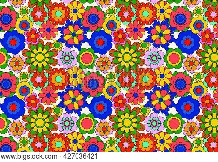 Abstract Groovy Floral Pattern Background. Vector Illustration.