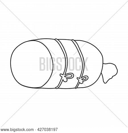 Sausage Vector Outline Icon. Vector Illustration Meat On White Background. Isolated Outline Illustra