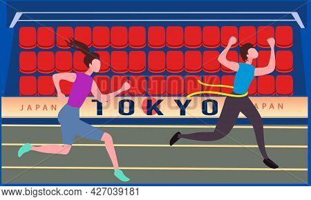 Stadium Without Spectators. Running Athletes Women. Japan Coronavirus, Winner In Front. Background B