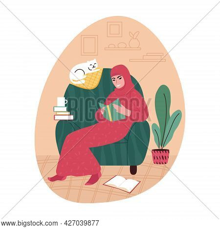 Young Woman Wearing A Headscarf In An Armchair At Home Reading A Book. Vector Illustration.
