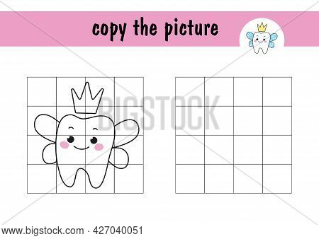 Children S Mini-game On Paper - Repeat The Drawing Of A Tooth Fairy With Crully. Copy The Picture Us