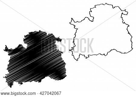 Nordhausen District (federal Republic Of Germany, Rural District, Free State Of Thuringia) Map Vecto