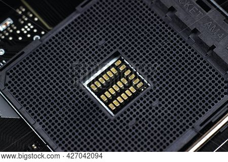 Motherboard Digital Chip. Information Engineering Component. Integrated Communication Processor. Mac