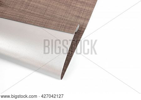 Sun And Heat Protection. Roller Blinds Are Made From Texture Material. Close Up Roman Blind Or Rolle