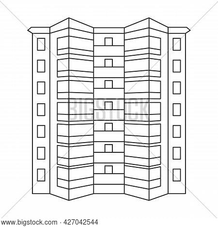 Building High Vector Outline Icon. Vector Illustration Skyscraper On White Background. Isolated Outl
