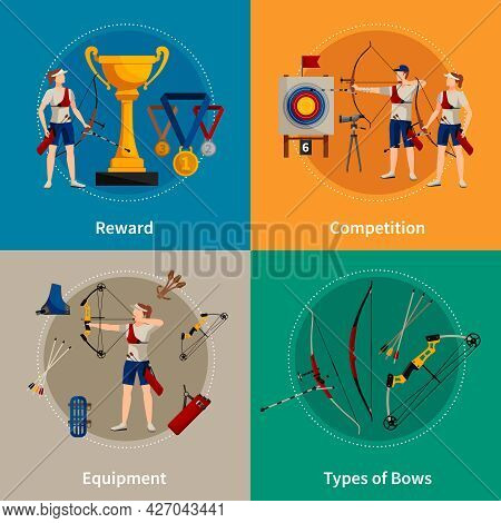 Colorful Archery Flat 2x2 Icons Set With Archers Rewards Types Of Bows And Equipment Isolated Vector
