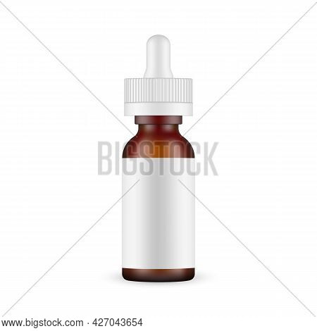 Frosted Amber Dropper Bottle Mockup With Blank Label, Isolated On White Background. Vector Illustrat