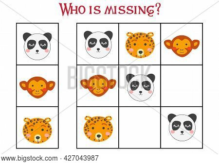 Sudoku Game For Children With Pictures. Kids Activity Sheet. Cute African Animals