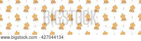 Seamless Cartoon Pet Dog Doodle Border. Whimsical Minimal 2 Tone Gender Neutral Color. Kids Nursery
