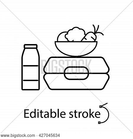 Lunchbox With Plate And Bottle Outline Icon. School Meal Concept. Editable Stroke. Isolated Vector S