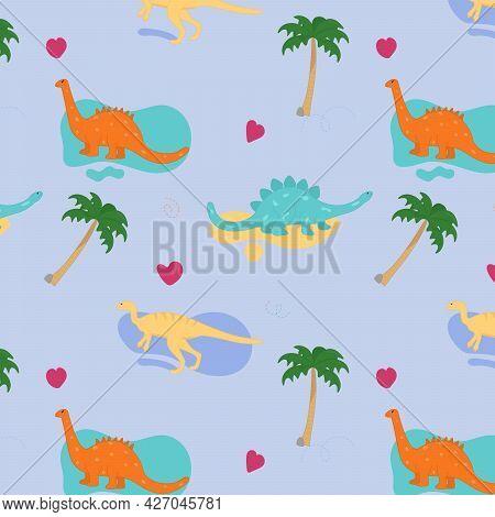 Dinosaur Seamless Vector Pattern. Dinosaur With Palm Tree