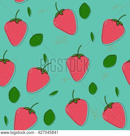 Strawberry Seamless Vector Pattern. Red Strawberry With Leaves