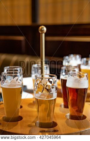 Set Of Craft Beer In Glasses. Various Types Of Draught Beer Including Stout, Lager, Ale, Pilsner And