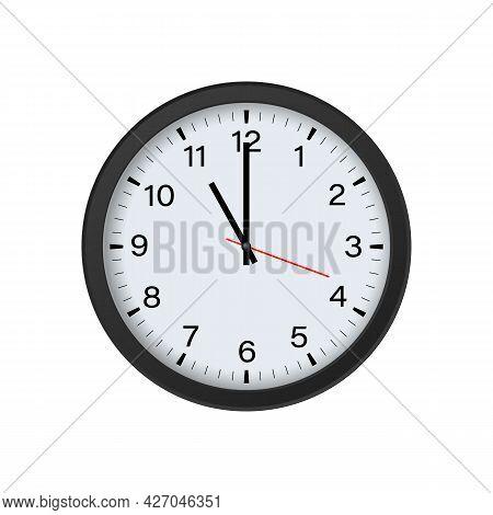 Circle Black Clock Mockup Showing 11 O'clock Isolated On White Background. Vector Illustration