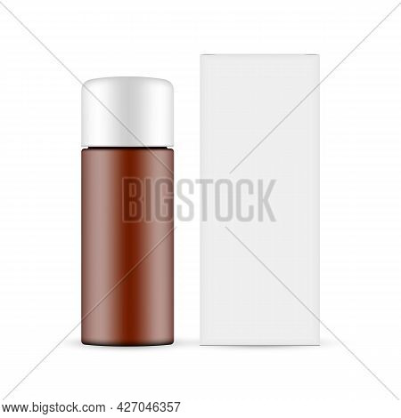 Amber Cosmetic Bottle Mockup With Paper Box Front View, Isolated On White Background. Vector Illustr