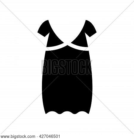 Oversized Home Dress Glyph Icon. Woman Gown. Homewear And Sleepwear. Black Filled Symbol. Isolated V