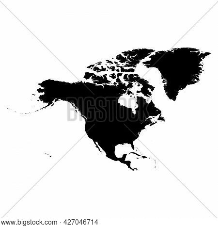 North America - High Detailed Continent Isolated Silhouette Map. Simple Flat Black Vector Illustrati