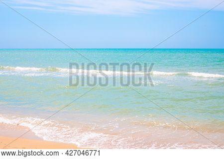 Beautiful Azure Sea And Blue Sky On The Horizon. Idyllic Sea Landscape.