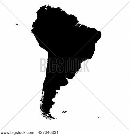 South America - High Detailed Continent Isolated Silhouette Map. Simple Flat Black Vector Illustrati
