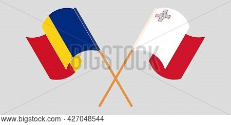 Crossed And Waving Flags Of Malta And Romania