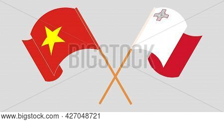 Crossed And Waving Flags Of Malta And Vietnam