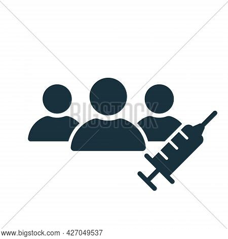 Vaccine Trials Thin Icon. Group Of People And Syringe. Testing Medical Vaccination. Time To Vaccinat