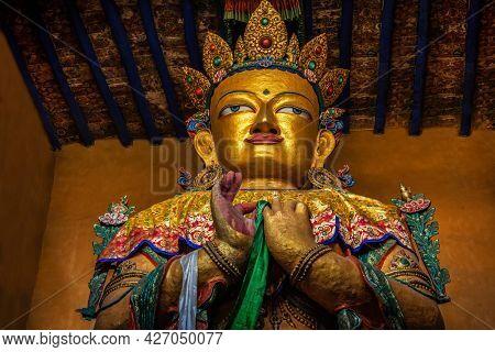 Maitreya Buddha statue in Tsemo gompa. Leh, Ladakh, India