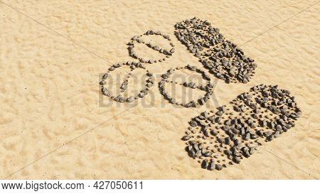 Concept conceptual stones on beach sand handmade symbol shape, golden sandy background, sign of medicine pill treatment. A 3d illustration metaphor for medicine, healthcare, pharmaceutical industry