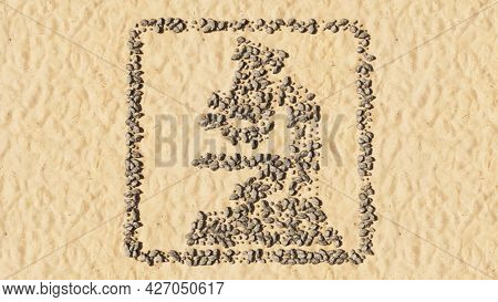 Concept conceptual stones on beach sand handmade symbol shape, golden sandy background, microscope sign. 3d illustration metaphor for medicine, research, biotechnology, education or discovery