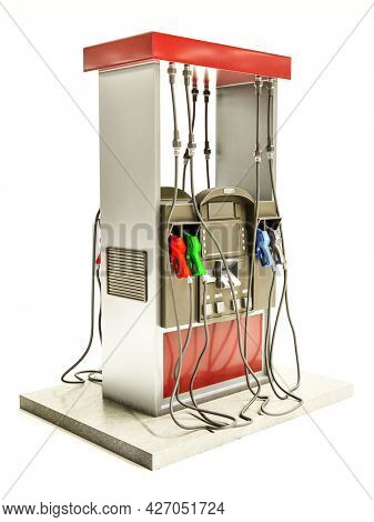 3d rendering of self-service fuel pump model on white background