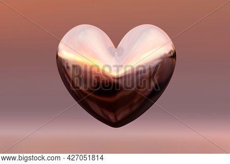A shiny reflective heart love sign. 3D illustration
