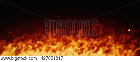 A wide fire with sparks background, 3D illustration