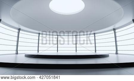A bright studio platform podium room. 3D illustration