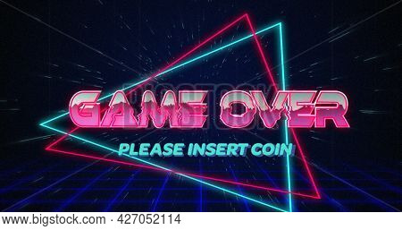 Image of retro Game over text glitching over blue and red triangles on white hyperspace effect 4k