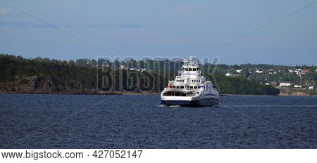 Travel by the Ferry from Horten to Moss connects Ostfold and Vestfold in Norway.June 22,2018. Moss,Norway