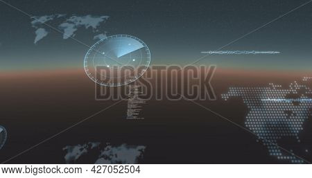 Image of data processing, world maps and statistics recording on gradient background. digital interface, global connection and communication concept digitally generated image.