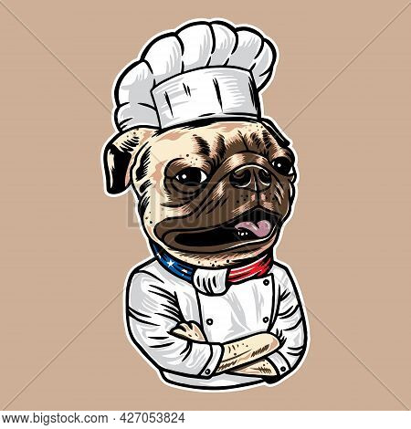 Pug Dog Chef Vector Illustration With Vintage Style Isolated On Background