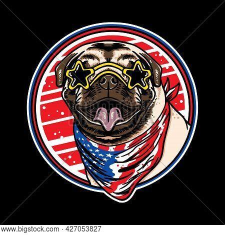 Pug Dog Head Eyeglasses Wearing American Flag Neck Bandana Illustration Isolated On Black Background