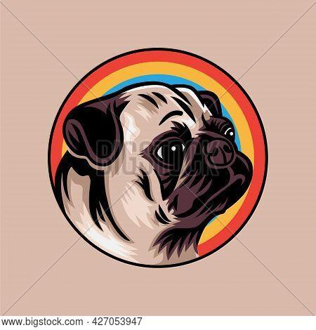 Vintage Pug Dog Concept Vector Illustration Isolated On Background