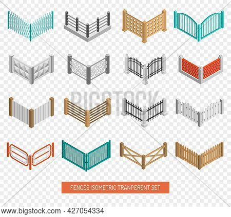 Fences For Real Estate Boundaries From Wood And Wrought Iron Isometric Icons Collection Transparent