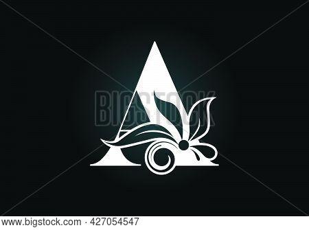 Floral Monogram Letter A. Initial Alphabet With Botanical Elements. Font Emblem. Vector Illustration