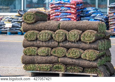 Stack Of Rolled Grass Sod Or Turf For Lawns And Landscaping