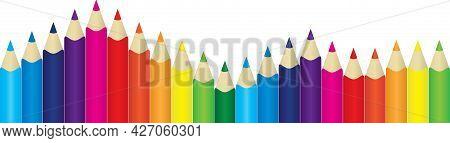 Colored Pencil Border With Multi Colored Spectrum Graphic