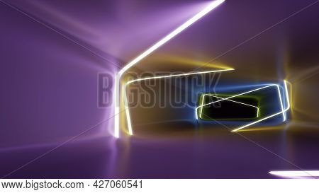 A neon lights tunnel background. 3D illustration