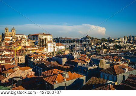 Porto Cathedral And  Dom Luiz Bridge At Proto In Portugal
