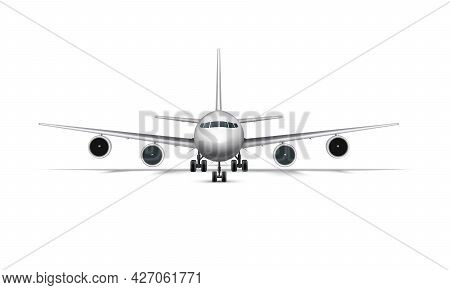 Realistic Standing Airplane, Jet Aircraft Or Airliner Front View. Detailed Passenger Air Plane On Wh