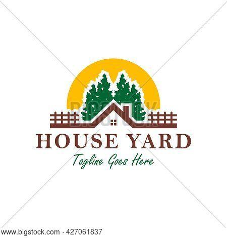 Home Yard Illustration Logo Design In The Forest