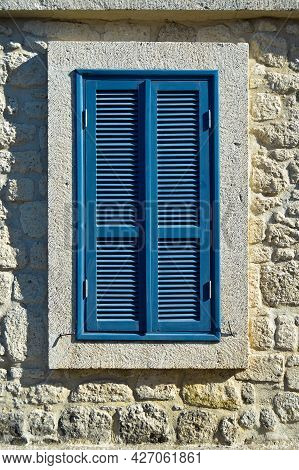 Cesme Alacati Located In Old Antique House Old-fashioned Blue Wooden Windows And Shutters, Turkey Iz
