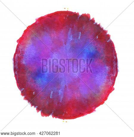 Red And Blue Freehand Watercolor Round Circle Texture Splash Isolated On White Background With Uneve